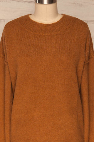 Gistel Brown Ochre Soft Knit Sweater | La Petite Garçonne front close-up
