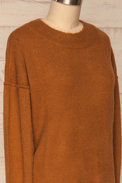 Gistel Brown Ochre Soft Knit Sweater | La Petite Garçonne side close-up