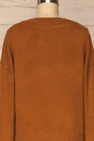 Gistel Brown Ochre Soft Knit Sweater | La Petite Garçonne back close-up