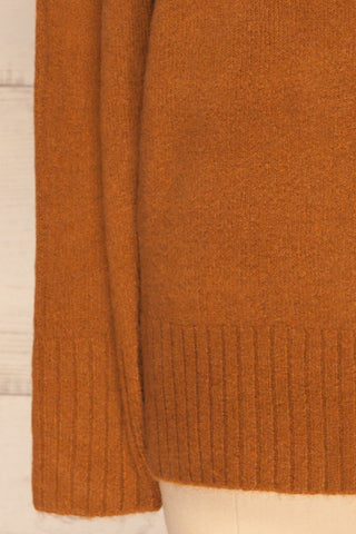 Gistel Brown Ochre Soft Knit Sweater | La Petite Garçonne bottom close-up
