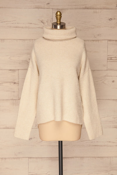 Givri Cream Knit Turtleneck Sweater | La petite garçonne front view