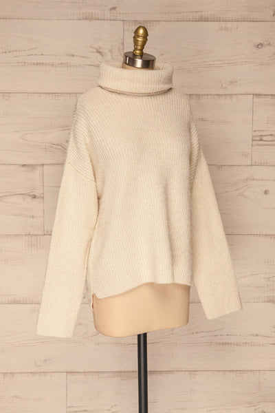 Givri Cream Knit Turtleneck Sweater | La petite garçonne side view