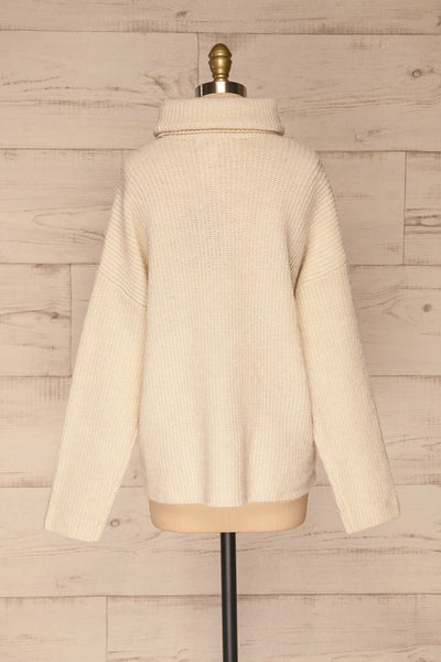 Givri Cream Knit Turtleneck Sweater | La petite garçonne back view