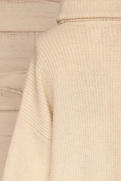 Givri Cream Knit Turtleneck Sweater | La petite garçonne back close-up