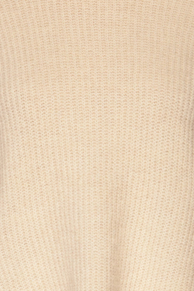Givri Cream Knit Turtleneck Sweater | La petite garçonne fabric