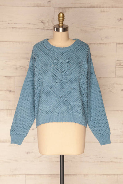 Glinka Blue Soft Knit Sweater w/ Pattern | FRONT VIEW | La Petite Garçonne