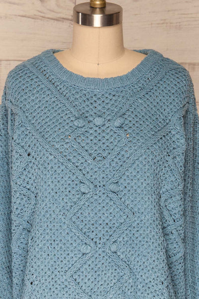 Glinka Blue Soft Knit Sweater w/ Pattern |FRONT CLOSE UP | La Petite Garçonne