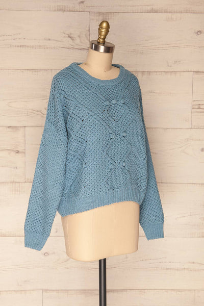 Glinka Blue Soft Knit Sweater w/ Pattern | SIDE VIEW | La Petite Garçonne