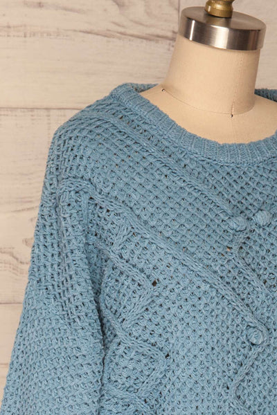 Glinka Blue Soft Knit Sweater w/ Pattern | SIDE CLOSE UP | La Petite Garçonne