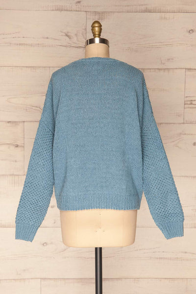 Glinka Blue Soft Knit Sweater w/ Pattern | BACK VIEW | La Petite Garçonne