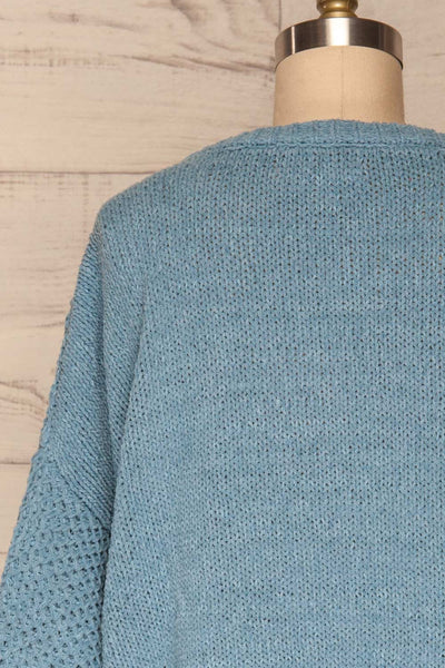 Glinka Blue Soft Knit Sweater w/ Pattern  | BACK CLOSE UP  | La Petite Garçonne