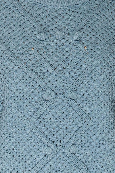Glinka Blue Soft Knit Sweater w/ Pattern | TEXTURE DETAIL | La Petite Garçonne