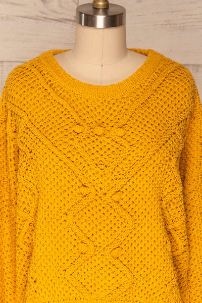 Glinka Mustard Soft Knit Sweater w/ Pattern |FRONT CLOSE UP | La Petite Garçonne