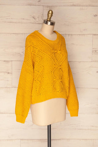 Glinka Mustard Soft Knit Sweater w/ Pattern | SIDE VIEW | La Petite Garçonne