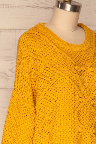 Glinka Mustard Soft Knit Sweater w/ Pattern  | SIDE CLOSE UP | La Petite Garçonne