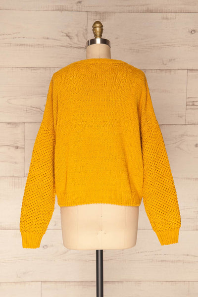 Glinka Mustard Soft Knit Sweater w/ Pattern | BACK VIEW | La Petite Garçonne