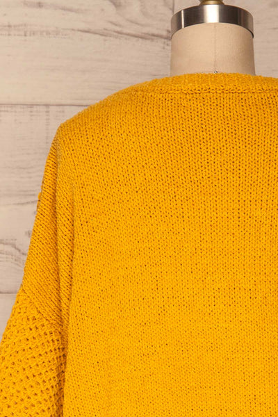 Glinka Mustard Soft Knit Sweater w/ Pattern  | BACK CLOSE UP  | La Petite Garçonne