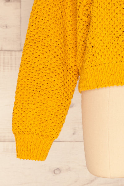 Glinka Mustard Soft Knit Sweater w/ Pattern | SLEEVE CLOSE UP | La Petite Garçonne