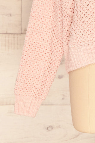 Glinka Blue Soft Knit Sweater w/ Pattern | SLEEVE CLOSE UP | La Petite Garçonne