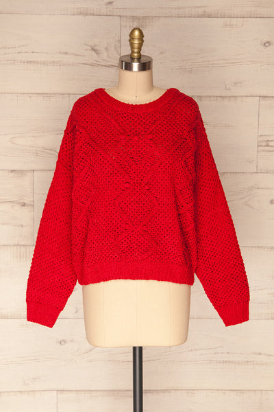 Glinka Red Soft Knit Sweater w/ Pattern | FRONT VIEW | La Petite Garçonne