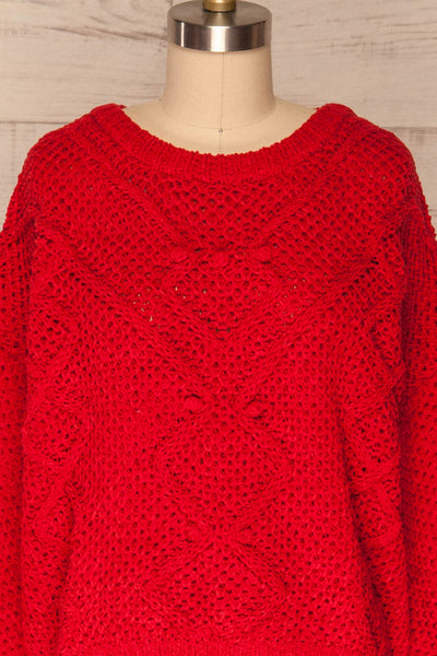 Glinka Red Soft Knit Sweater w/ Pattern |FRONT CLOSE UP | La Petite Garçonne