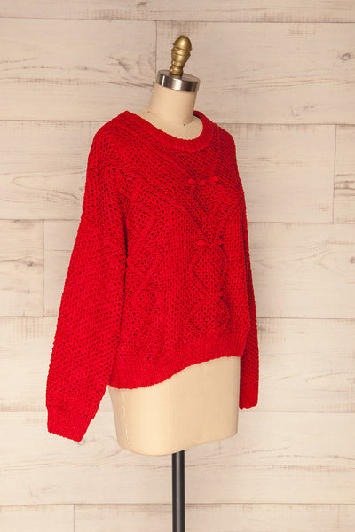 Glinka Red Soft Knit Sweater w/ Pattern | SIDE VIEW | La Petite Garçonne
