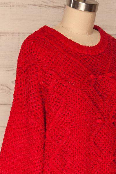 Glinka Red Soft Knit Sweater w/ Pattern | SIDE CLOSE UP | La Petite Garçonne