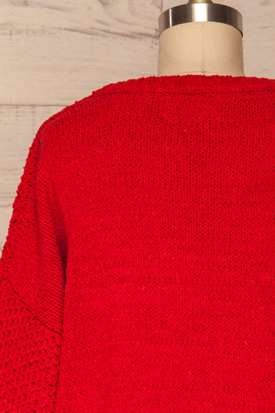 Glinka Red Soft Knit Sweater w/ Pattern  | BACK CLOSE UP  | La Petite Garçonne