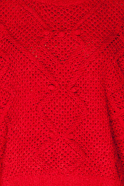 Glinka Red Soft Knit Sweater w/ Pattern | TEXTURE DETAIL | La Petite Garçonne