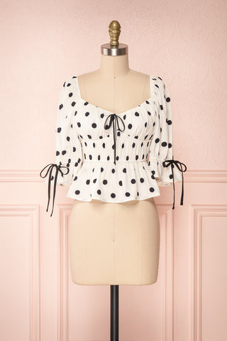 Gliten White & Black Polkadot Crop Top | Boutique 1861 front view