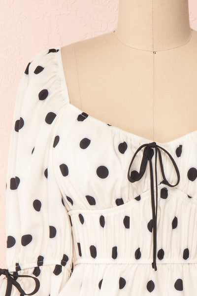 Gliten White & Black Polkadot Crop Top | Boutique 1861 front close-up