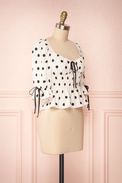 Gliten White & Black Polkadot Crop Top | Boutique 1861 side view