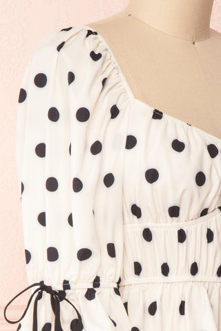 Gliten White & Black Polkadot Crop Top | Boutique 1861 side close-up