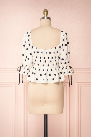 Gliten White & Black Polkadot Crop Top | Boutique 1861 back view