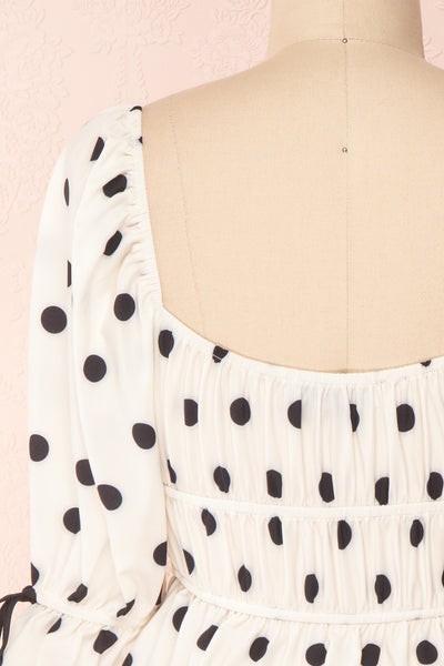 Gliten White & Black Polkadot Crop Top | Boutique 1861 back close-up