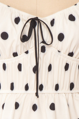 Gliten White & Black Polkadot Crop Top | Boutique 1861 fabric detail