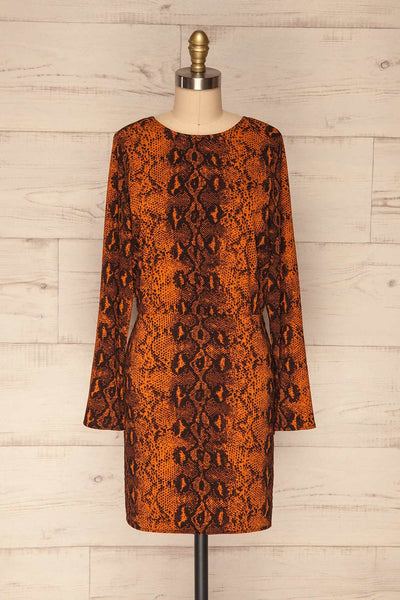 Gliwice Arancia Orange Snake Pattern Dress | FRONT VIEW | La Petite Garçonne