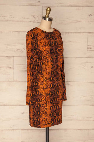 Gliwice Arancia Orange Snake Pattern Dress  | SIDE VIEW  | La Petite Garçonne