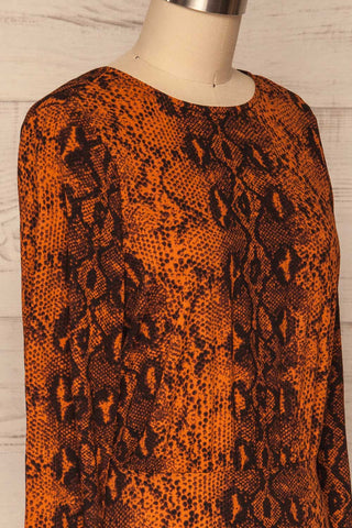 Gliwice Arancia Orange Snake Pattern Dress | SIDE CLOSE UP  | La Petite Garçonne