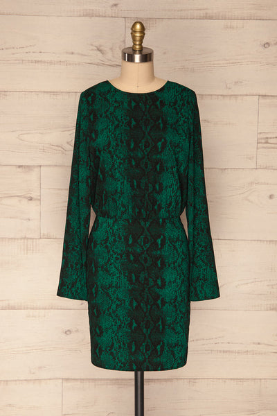 Gliwice Verde Green Snake Pattern Cocktail Dress | FRONT VIEW | La Petite Garçonne