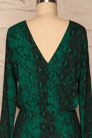 Gliwice Verde Green Snake Pattern Cocktail Dress  | BACK CLOSE UP  | La Petite Garçonne