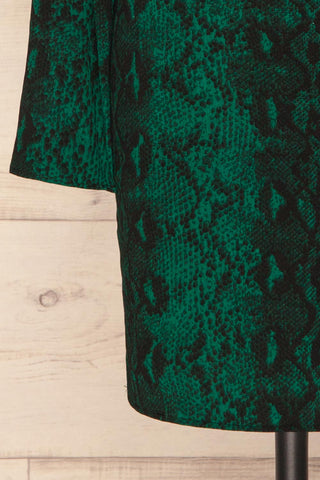 Gliwice Verde Green Snake Pattern Cocktail Dress | BOTTOM CLOSE UP | La Petite Garçonne