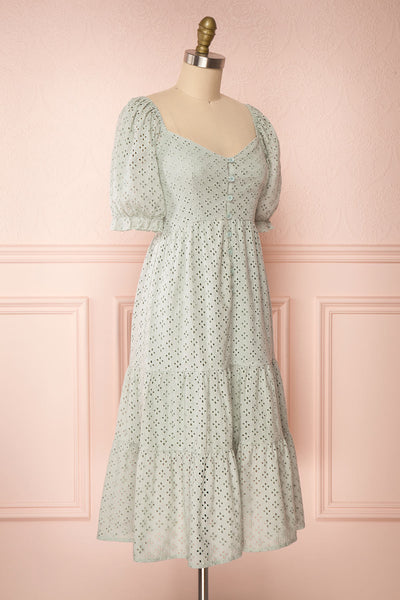 Gloria Mint Sage A-Line Openwork Midi Dress | Boutique 1861 side view