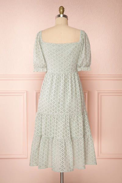 Gloria Mint Sage A-Line Openwork Midi Dress | Boutique 1861 back view
