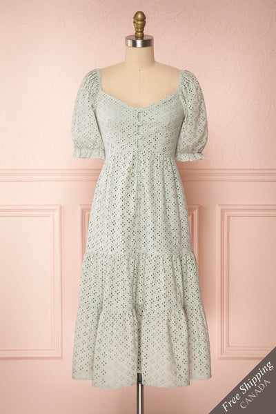 Gloria Mint Sage A-Line Openwork Midi Dress | Boutique 1861 front view