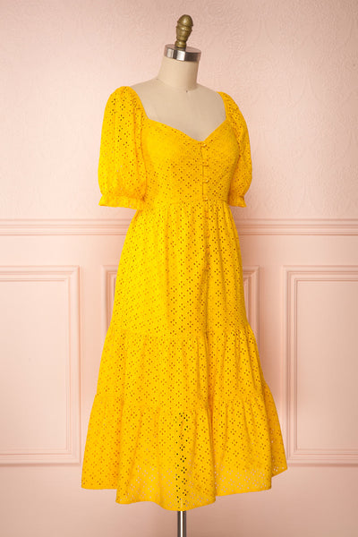 Gloria Yellow A-Line Openwork Midi Dress | Boutique 1861 side view