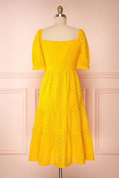 Gloria Yellow A-Line Openwork Midi Dress | Boutique 1861 back view