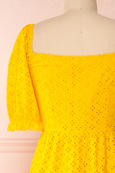 Gloria Yellow A-Line Openwork Midi Dress | Boutique 1861 back close-up