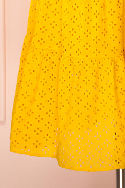 Gloria Yellow A-Line Openwork Midi Dress | Boutique 1861 bottom