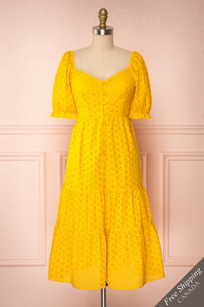 Gloria Yellow A-Line Openwork Midi Dress | Boutique 1861 front view
